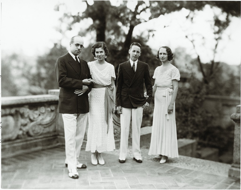 "Philbrook founders Waite and Genevieve Phillips are pictured with their children, Elliott ""Choppe"" Waite and Helen Jane, at Philbrook. Photo courtesy Philbrook Museum of Art."