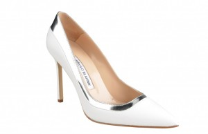 Manolo Blahnik pumps with silver trim, $795, Saks Fifth Avenue.