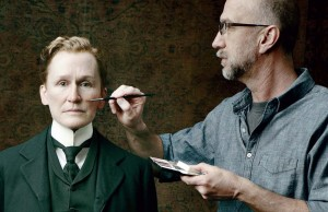 Artist Matthew Mungle applies special effects makeup to Glenn Close on the film set of 2011's Albert Nobbs. Photo by Annie Leibovitz.