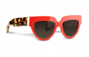 Prada red frames with tortoise temples, $310, Saks Fifth Avenue.