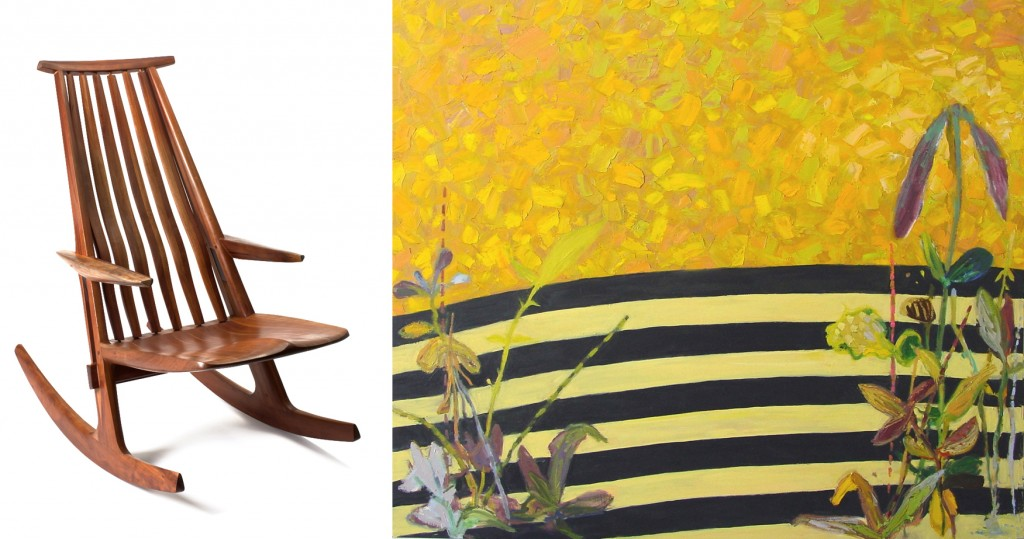 """Rocking Chair"" by James Henkle (left) and ""Tacoma"" by George Bogart. Images courtesy Fred Jones Jr. Museum of Art."