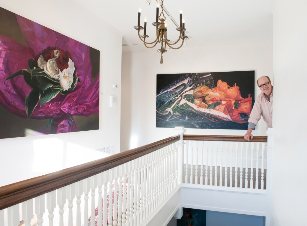 Gordon with two works displaying the vivid detail for which he is renowned.