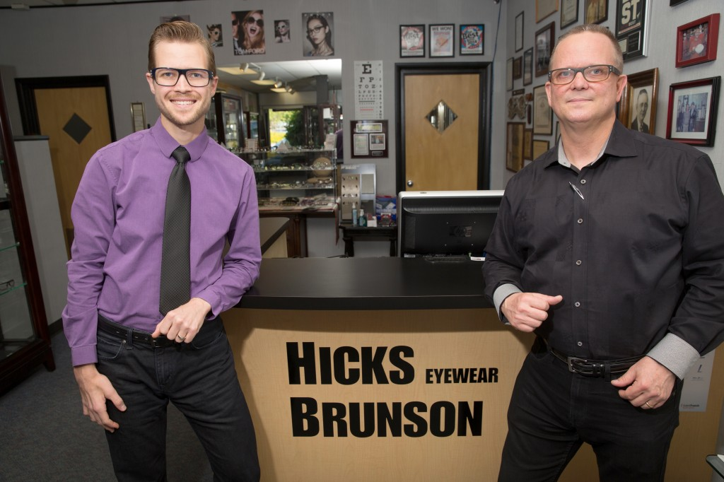 Daniel brunson, manager of hicks brunson eyewear, and rick brunson, company president, stand by a commitment to meet all their customers' needs. Photo by Brandon Scott.