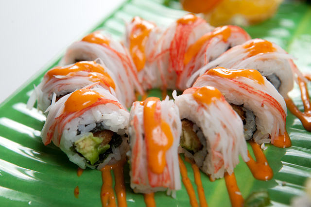 The Thunder roll – tempura shrimp, avocado and crabsticks drizzled in spicy mayo – is Nhinja Sushi & Wok's homage to the Oklahoma City Thunder. Photo by Brent Fuchs.