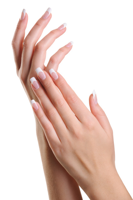 Nails: a clean French manicure