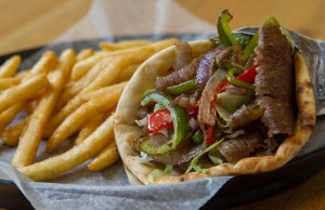 Western Gyro is a popular lunch item at Basil Mediterranean Cafe.  Photo by Brent Fuchs.