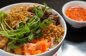 Bun Tom Thit Nuong Cha Gio, rice noodles served with meat, is a menu favorite at Pho Lien Hoa. Photo by Brent Fuchs.
