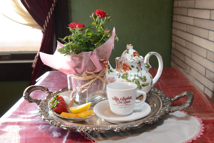 Tea service at Miss Scarlett's. Photo by Natalie Green.