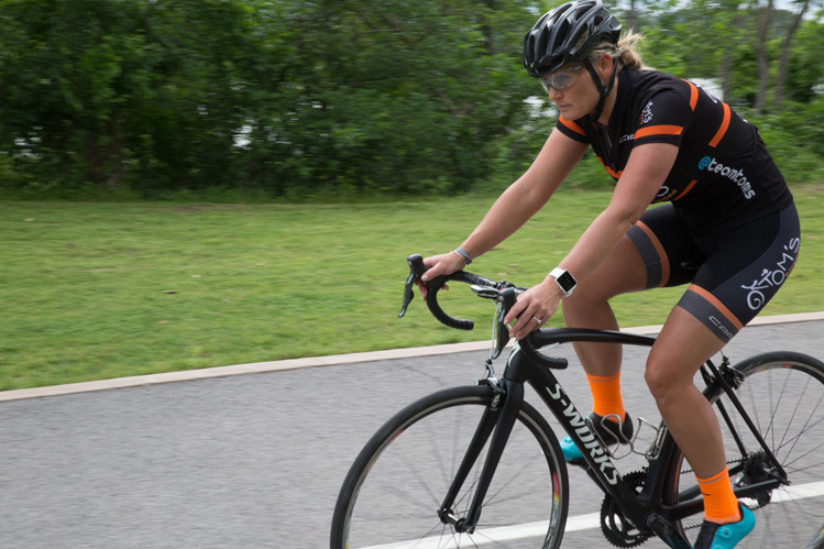 Gina Hancock is an avid Tulsa cyclist and rides for team Tom's. Photo by Brent Fuchs.