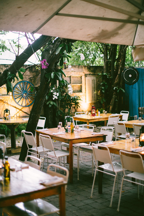 Enjoy Mandolin Aegean Bistro's Mediterranean cuisine on its patio.  Photo courtesy Miami Design District.