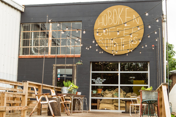 Hoboken coffee roasters is housed behind an auto repair shop near Downtown Guthrie.