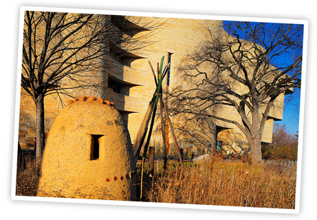 The landscape surrounding the museum offers depictions of American Indian environments. Photo by Katherine Fogden, NMAI.