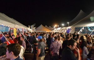 Hungry festival-goers line up at the food tents available at Oktoberfest. Photo courtesy Linde Oktoberfest.