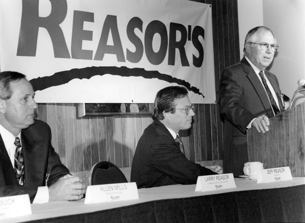 Larry Reasor addresses a crowd in 1999. Photo courtesy Reasor's Foods.