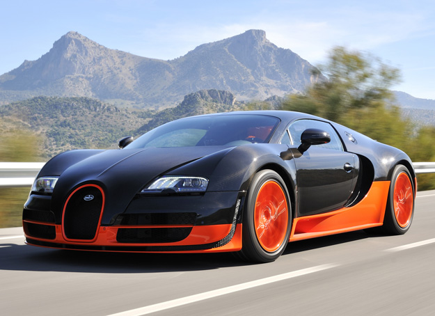 The Bugatti Veyron has 12 cylinders and can hit speeds of more than 260 miles per hour. Max Earey / Shutterstock.com