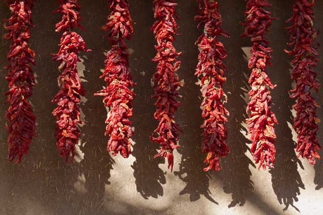 Fresh chili peppers are a staple of new mexico cuisine and available in many dishes served by santa fe restaurants.