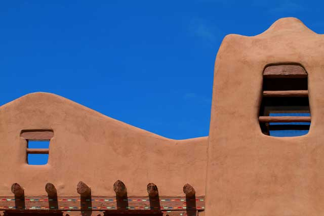 Pueblo-revival style architecture is common in santa fe and makes for a popular tourist attraction.