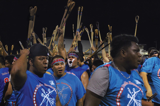 The all ages Tvshka Homma stickball team competing in Mississippi. Photo by Tina Firquain, Choctaw Nation