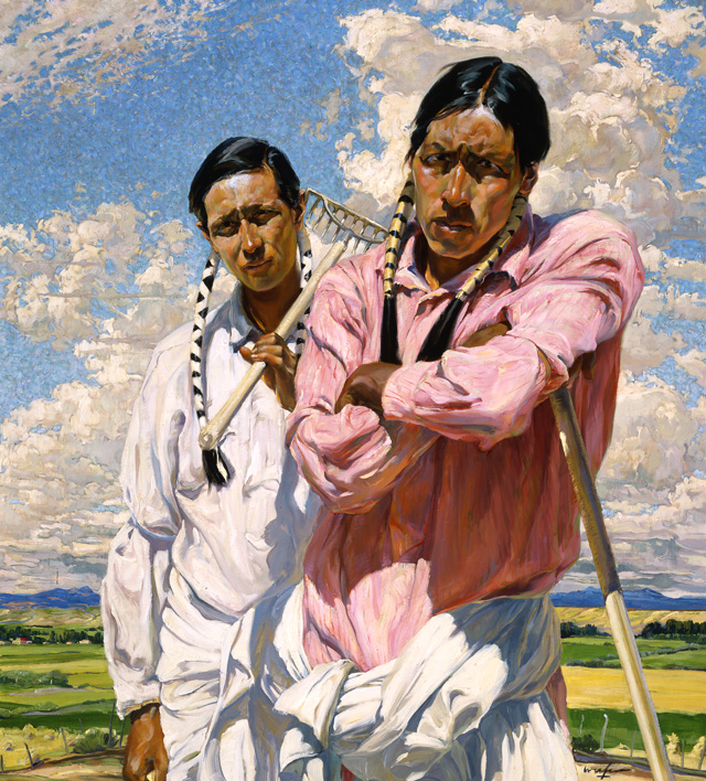 Me and Him by Walter Ufer is included in the A Place in the Sun: Southwest Paintings of Walter Ufer and E. Martin Hennings exhibition. Photo courtesy Philbrook Museum of Art