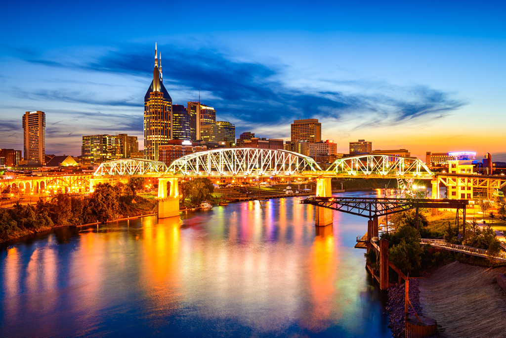 Nashville sits along the Cumberland River and is home to a replica of the Parthenon.