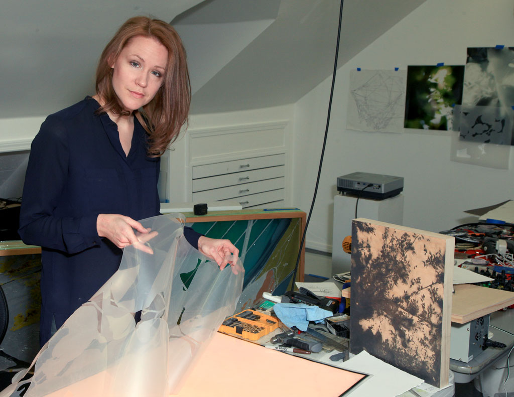 Grimm focuses on combining digital and traditional techniques in her art. Photo by Marc Rains.